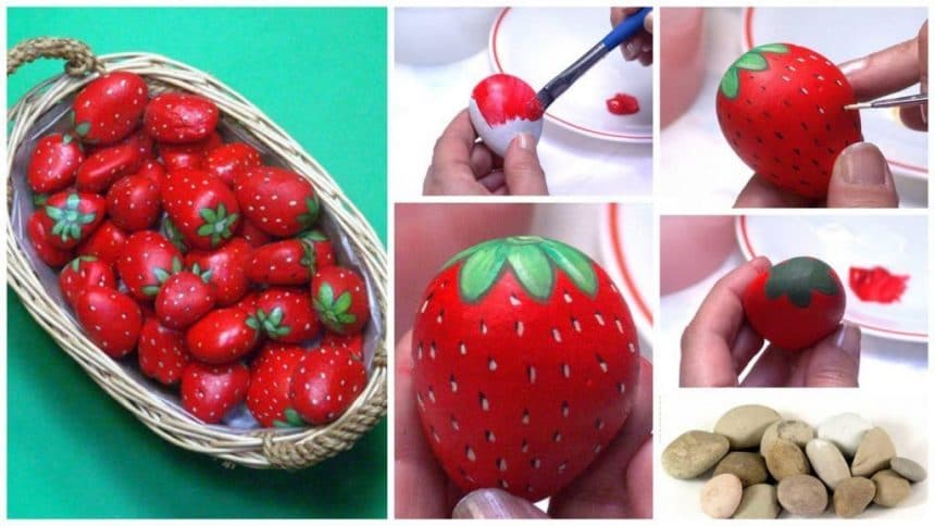 How to make strawberries of pebbles.