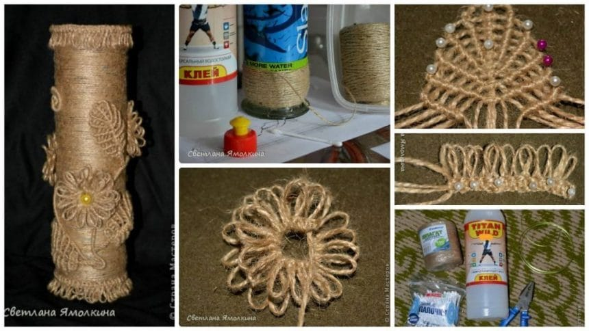How to make macrame vase from jute