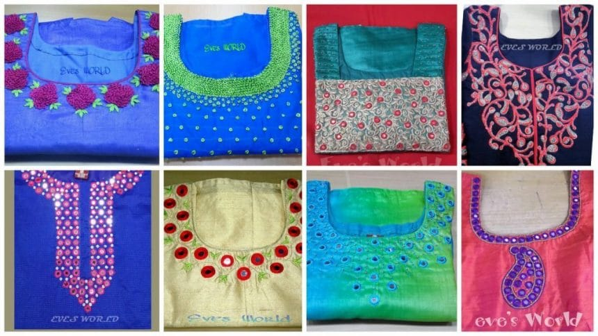 Different types of embroidery patterns for kurti neck