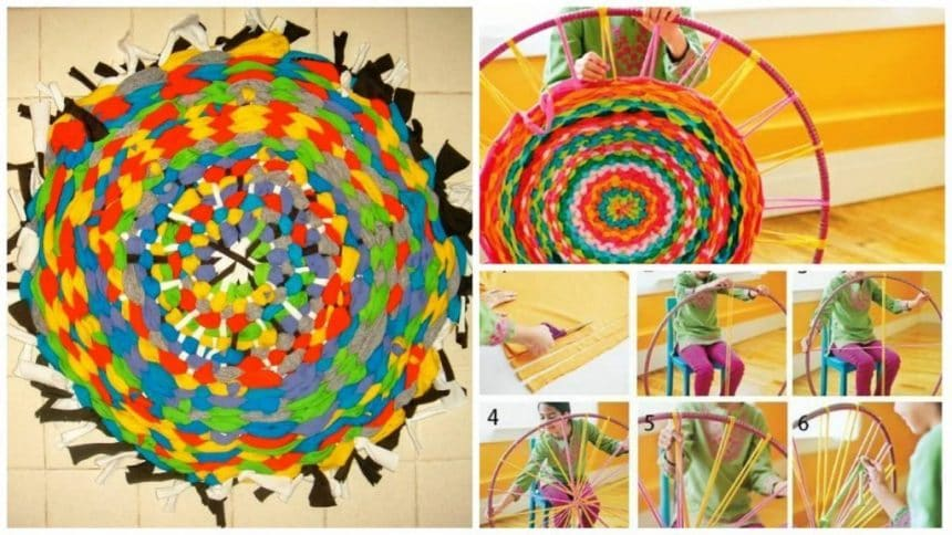 How to  old T-shirts turned into a nice round rug