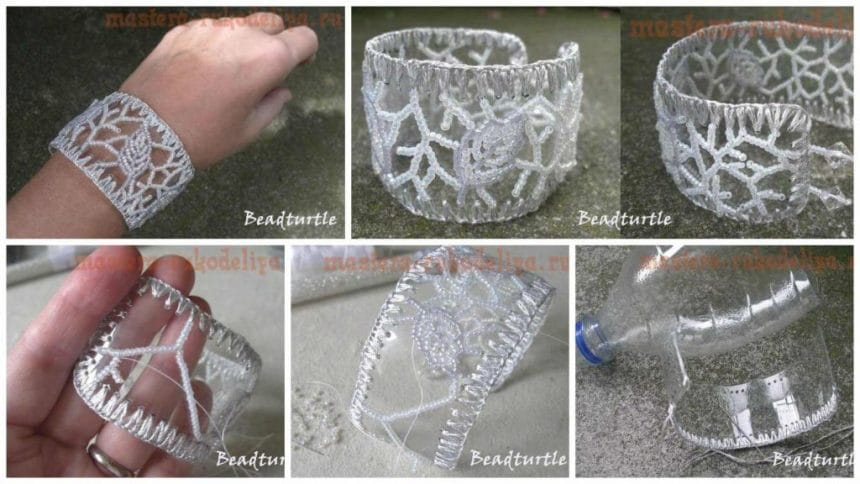 How to make bracelet from a plastic bottle and beads
