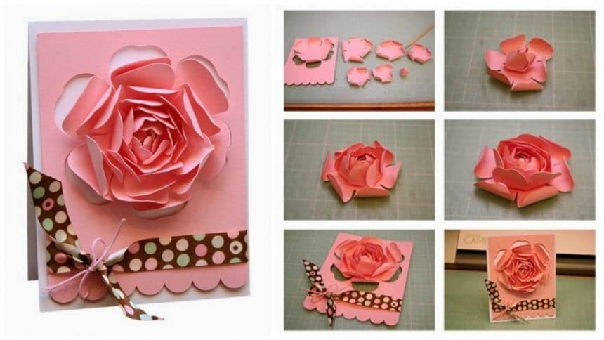 How to make greeting card with rose