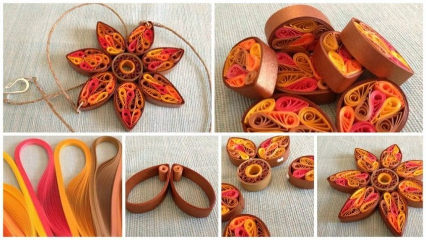 How to make quilling flower necklace