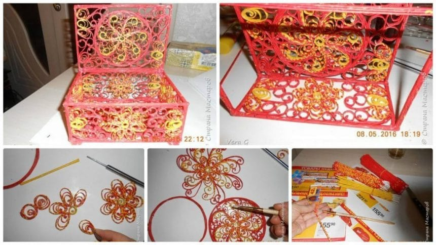 How to make openwork box of paper tubes