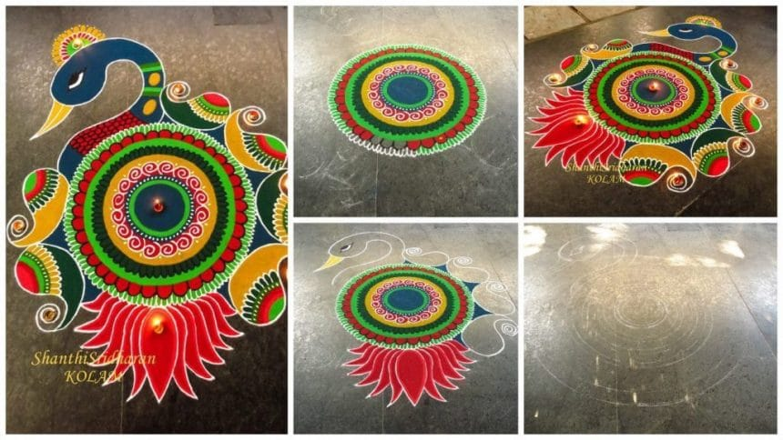 How to make colourful peacock rangoli
