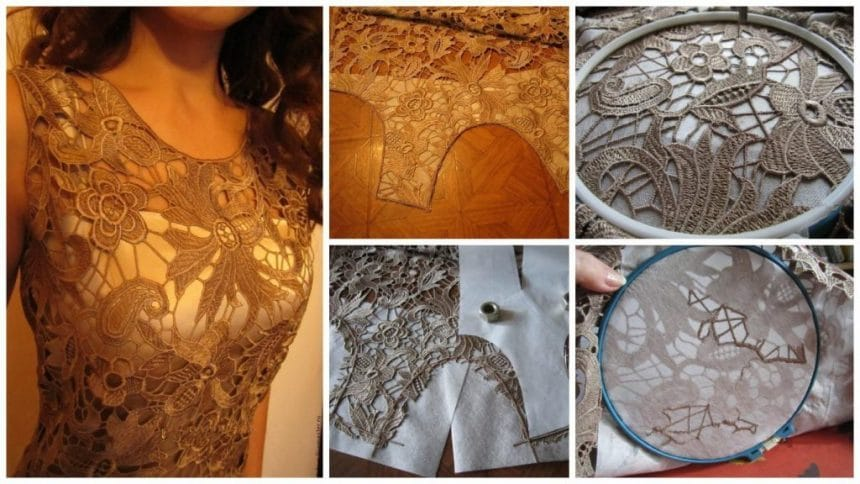 How to sewing dresses made of heavy, transparent and surround venetian lace