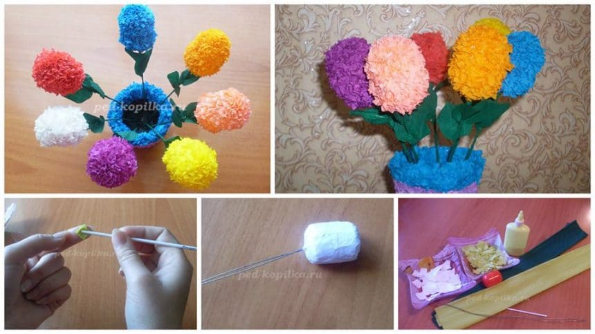 How to make flowers from corrugated paper