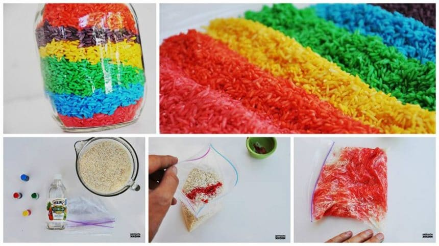 How to make colored rice for creativity