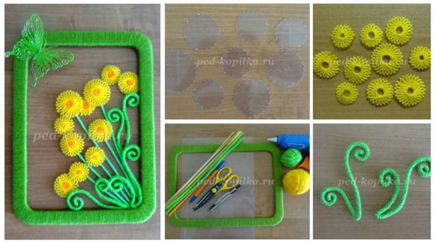 How to make spring dandelions thread panels
