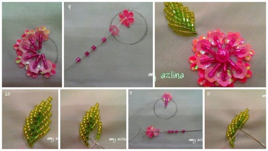 How to make sequence embroidery flower