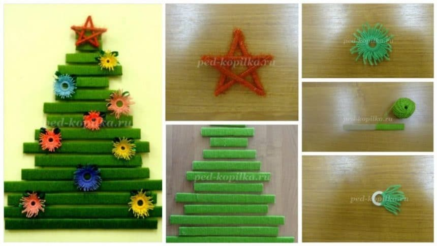 """How to make knitting """"Christmas Tree with a star and garlands."""""""
