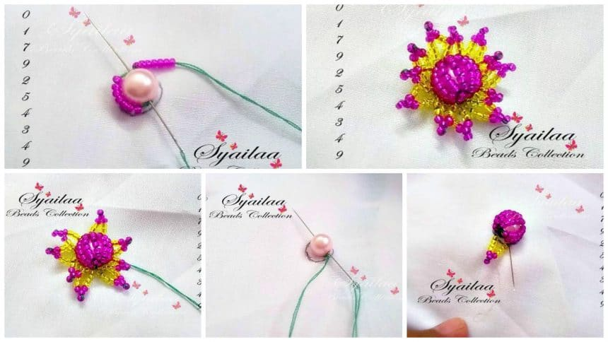 How to make bead embroidery flower