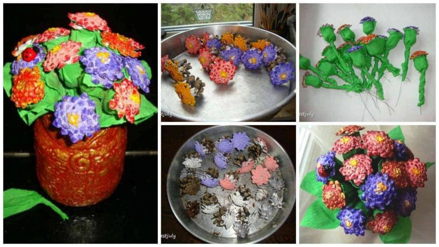How to make autumn bouquet from cones