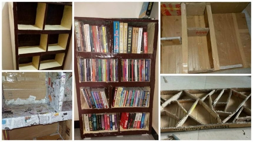 How To Make Bookshelf From Waste Card Boards
