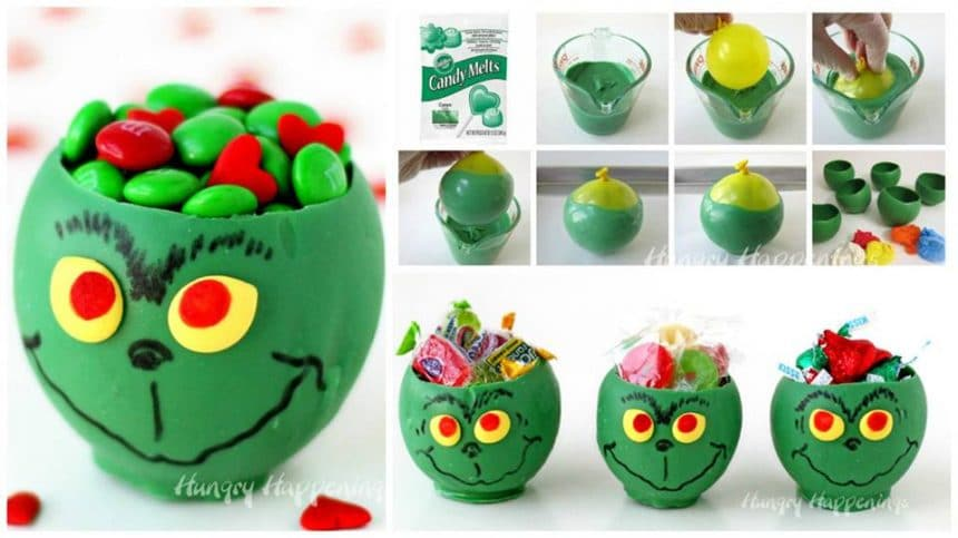 How to make grinch candy cups