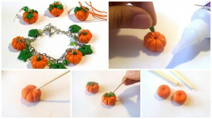 How to make pumpkin jewelry from polymer clay
