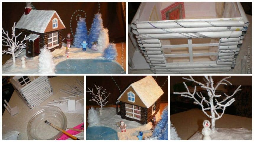 How to make christmas village from paper tube