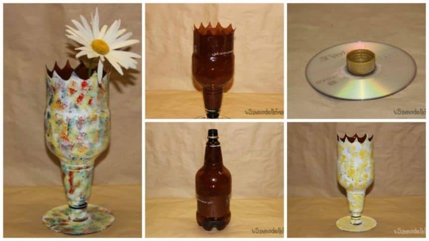 How to make vases of plastic bottles