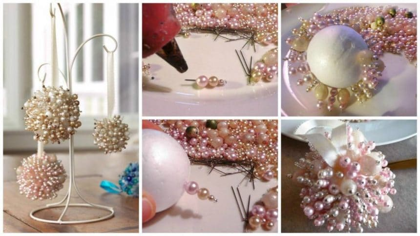 How to make Christmas ball of needles and beads