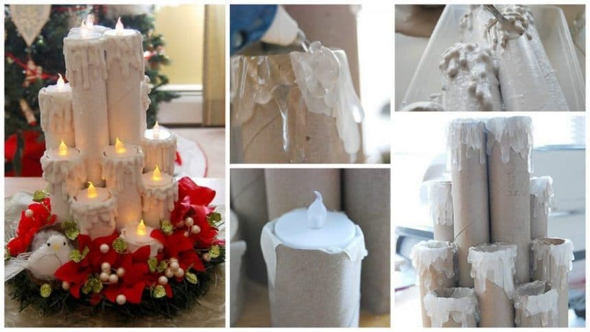 How to make christmas candle from paper roll