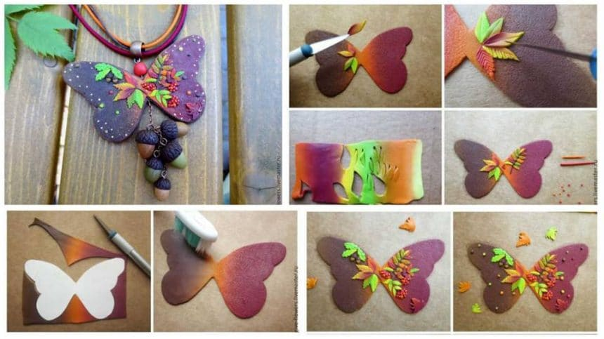 "How to make ""Autumn butterfly pendant from polymer clay"
