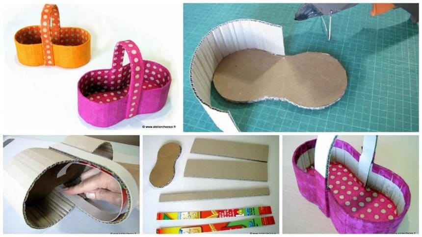 How to make small basket cardboard
