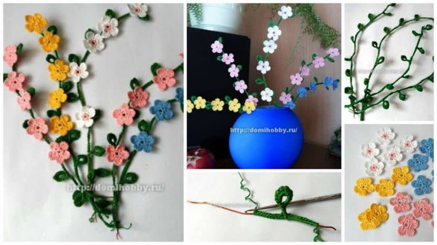 How to make spring bouquet of knitted twigs