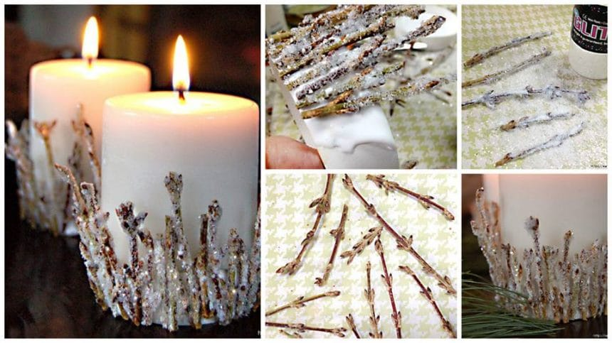 How to make christmas candle holder from shiny sprigs