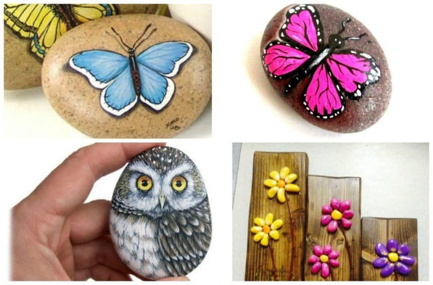 paint beautiful butterflies in stones
