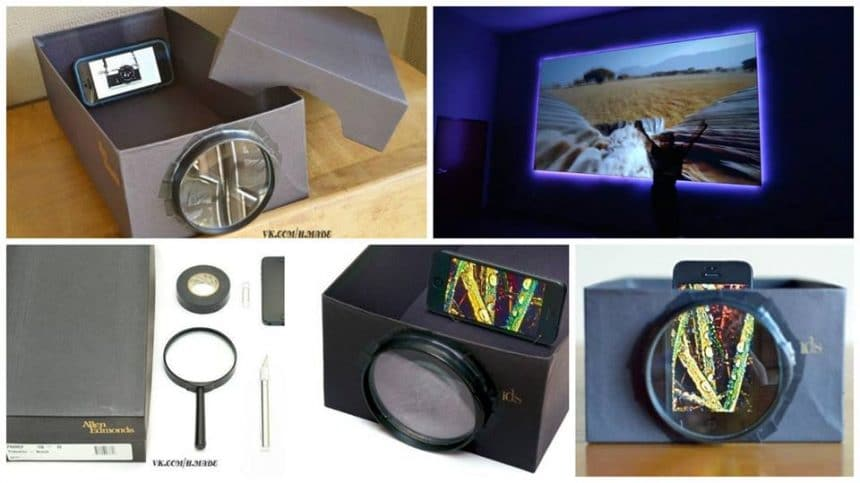 How to made projector from shoe box, phone and magnifying glass