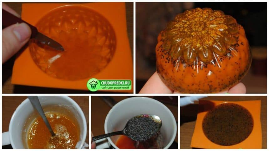 How to make chrysanthemum with zest and poppy seeds soap