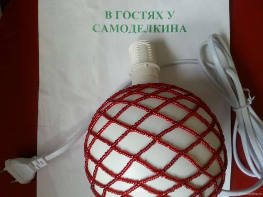 table lamp in the colors of beads