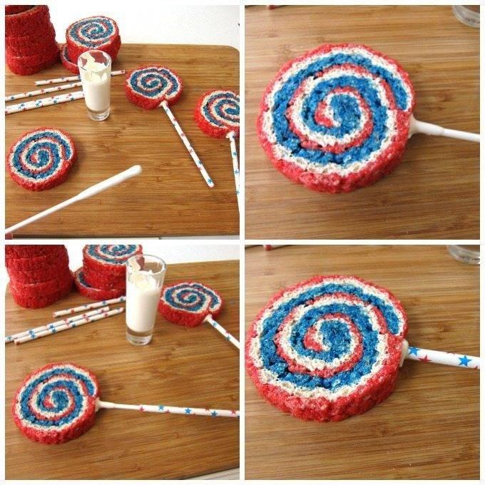 Red, White and Blue Rice Krispie Treat Pinwheels