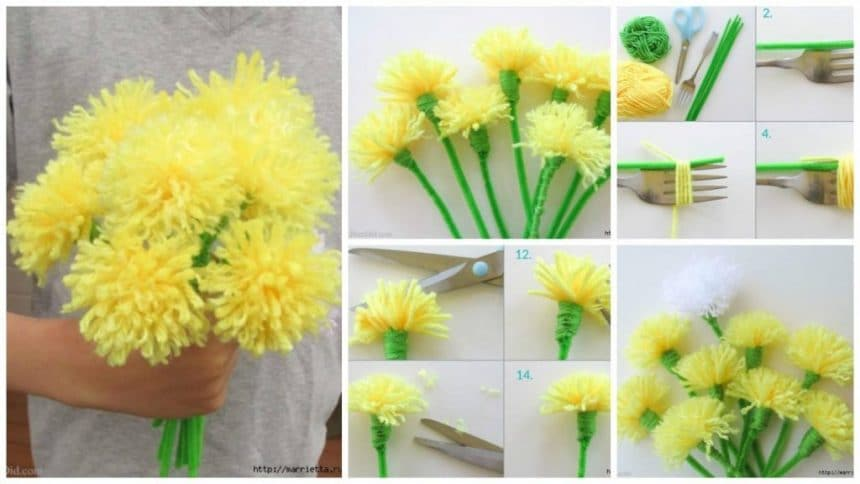 How to make chrysanthemums of pompons
