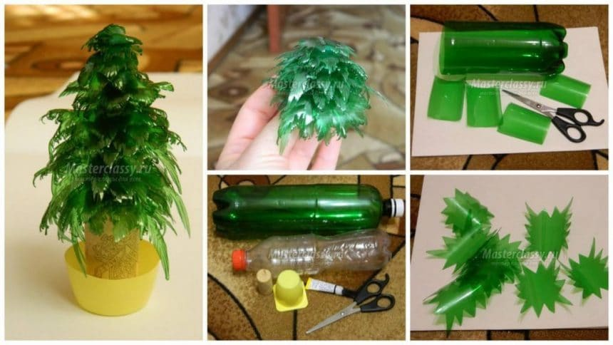 How to make christmas tree from plastic bottles.