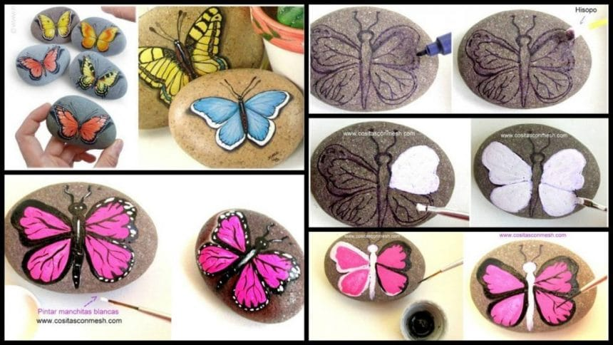 Ideas to paint beautiful butterflies in stones