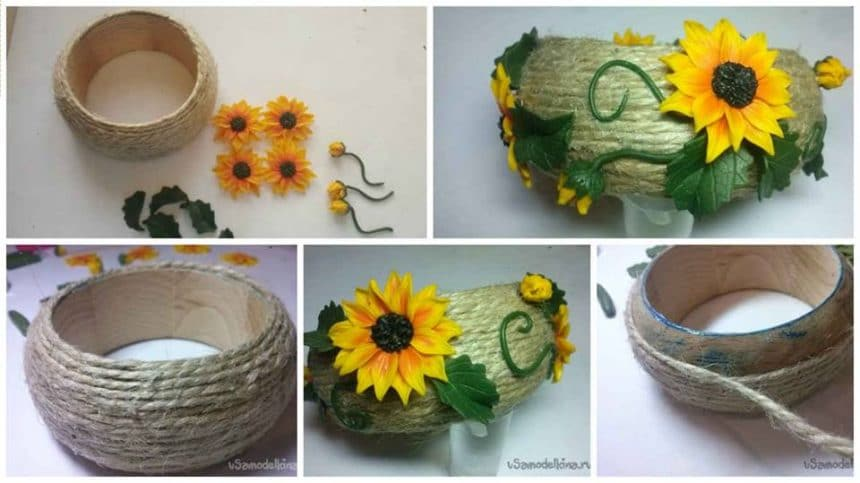 Bracelet with sunflowers from polymer clay on a wooden base