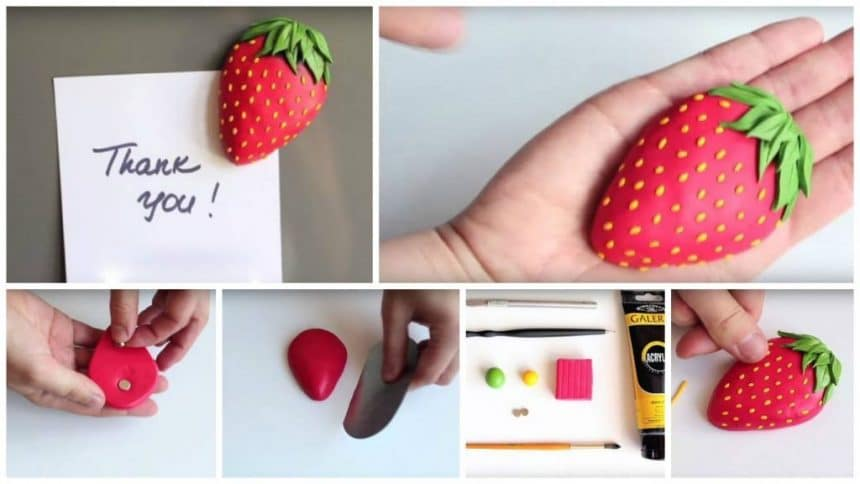 "How to make magnet from polymer clay ""Juicy strawberry"""