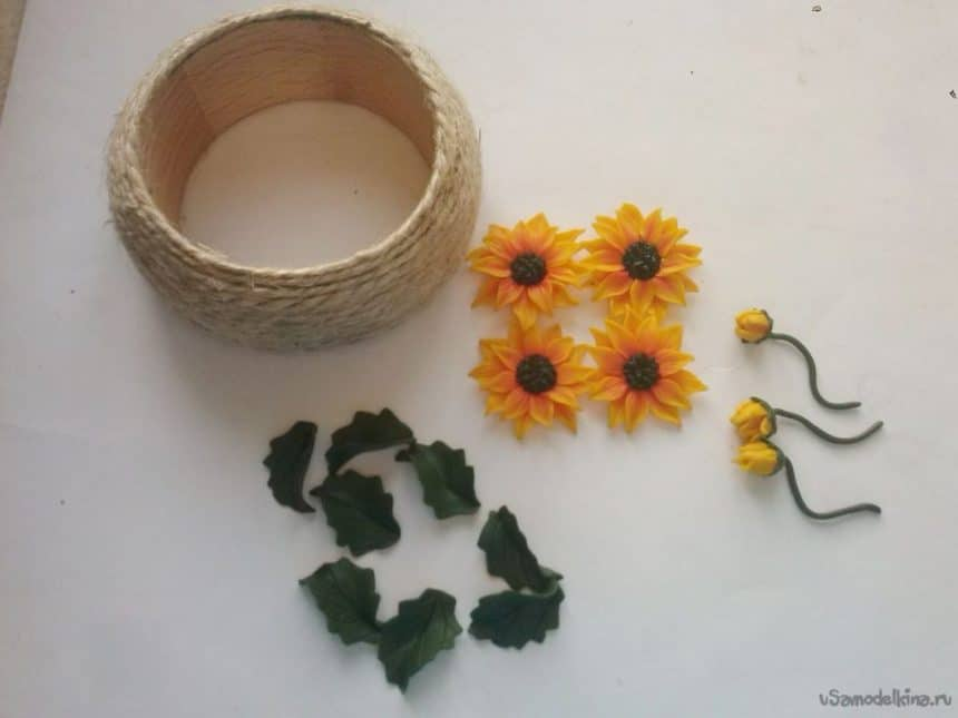 sunflowers from polymer clay