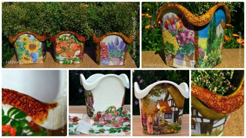 How to make decoupage flower pots