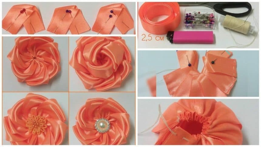 The flowers of satin ribbons