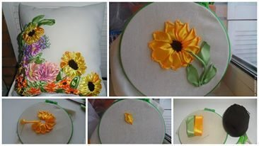 How to embroider a sunflower