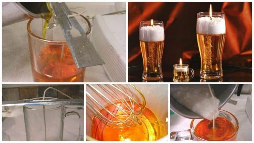 How to make gel candle in a glass of beer - Simple Craft Ideas