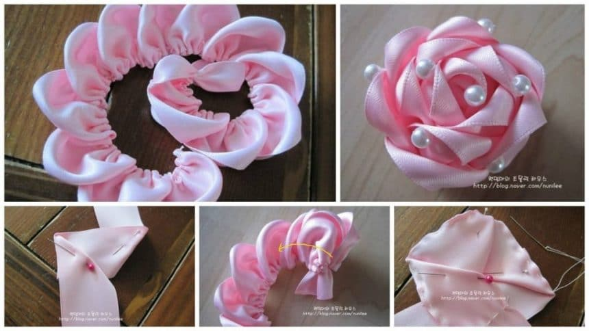 How to make rose with satin ribbon of pearls