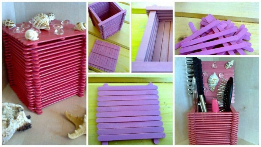 How to make box with shells made of sticks for ice cream