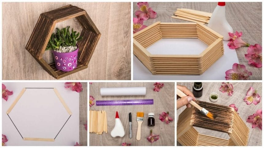 Learn how to make shelves with popsicle sticks