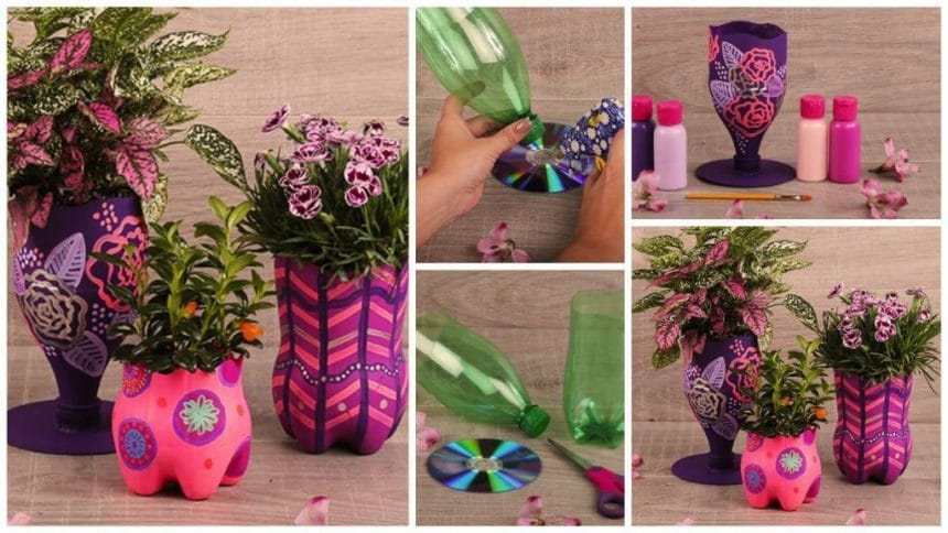 How to make pots filled with recycled bottles