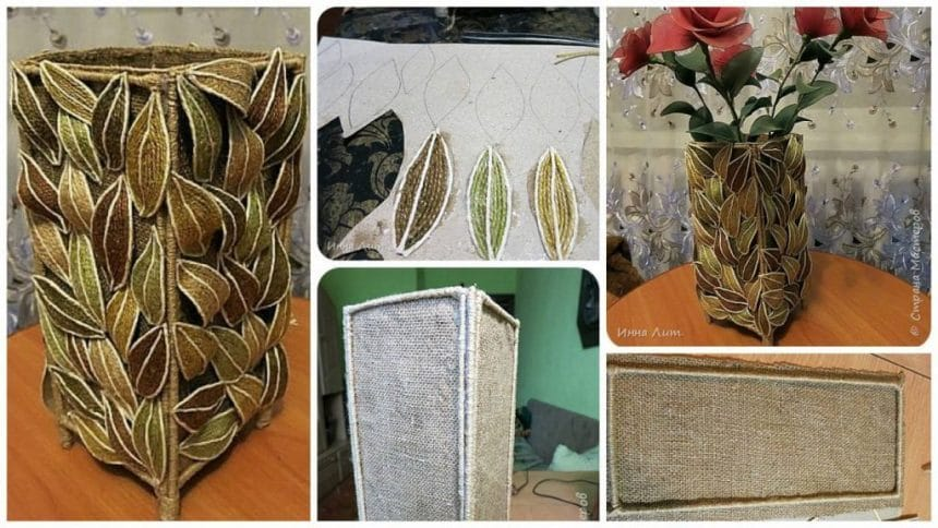 How to make vase from jute leafs