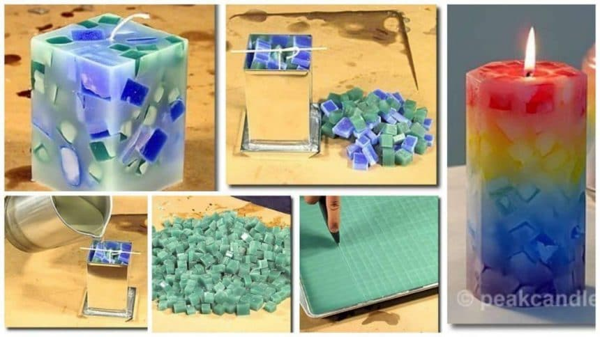 How to make mosaic candles