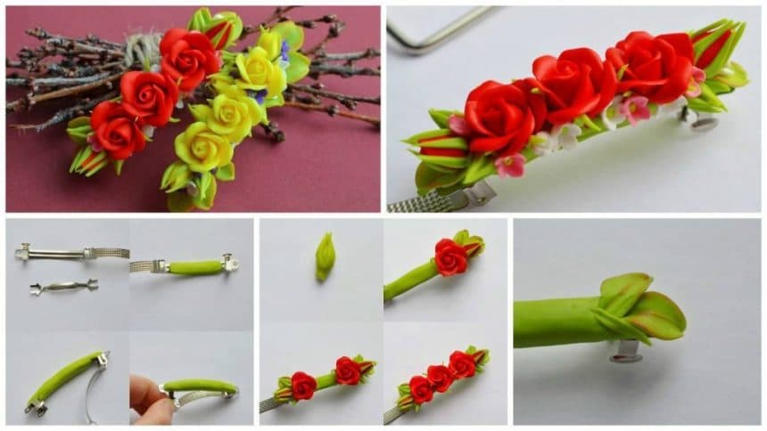 How to make a flower hairpin
